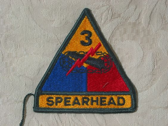 MILITARY SHOULDER PATCH 3rd (Third) Armored Spearhead Division, Spearhead March  http://ajunkeeshoppe.blogspot.com/   Junk_679