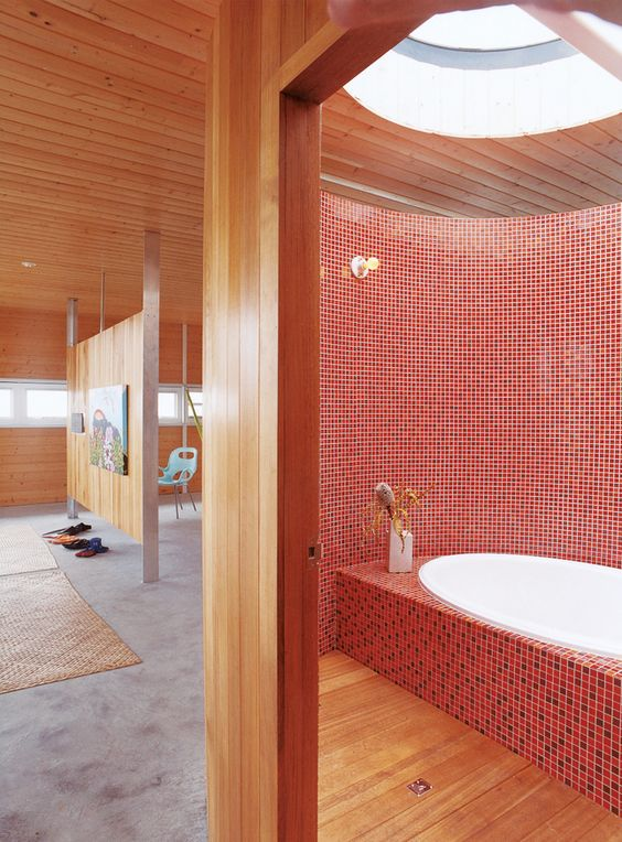 lavaflow 2 house exterior designed by architect Craig Steely for his family: Bathrooms Inspiration, Mosaic Tile, Bathroom Designs, Bathroom Ideas, Amazing Bathrooms, Master Bathroom, Tiled Bathrooms