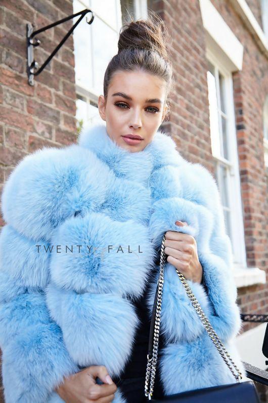 Lola Baby Blue Fox Fur Coat With Collar Manteau Fourrure Fourrure Manteau