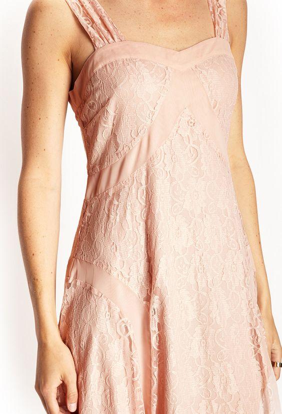 Lace  Chiffon Sweetheart Dress | LOVE21 - 2000107461