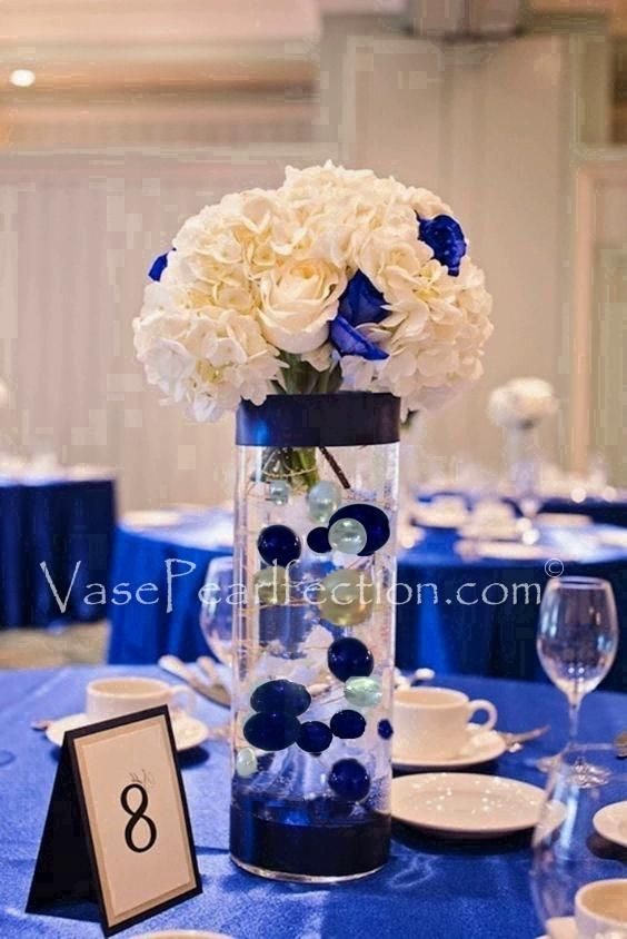 Royal Blue Ivory Pearls Jumbo Assorted Sizes Vase Fillers For