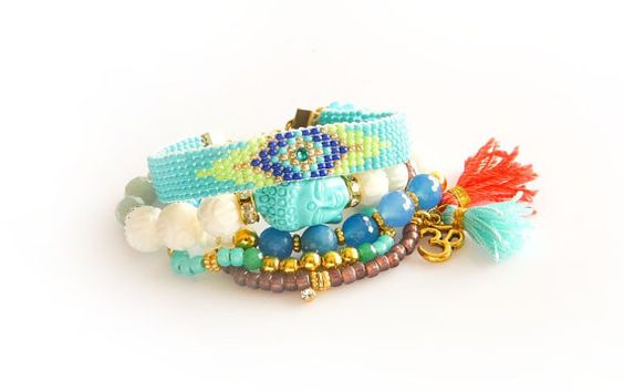 Made to Order/Swarovski,Neon,Buddha,Ohm,Tassel Charm,Gemstone,Beadwork Bohemian Indian Boho Chic Hippie Multiple Strand Friendship Bracelet
