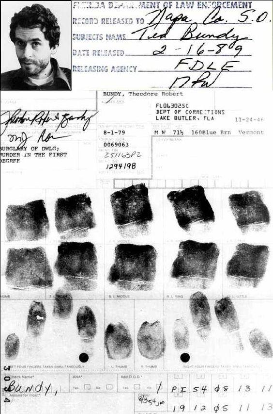 Ted Bundy fingerprints                                                                                                                                                     More