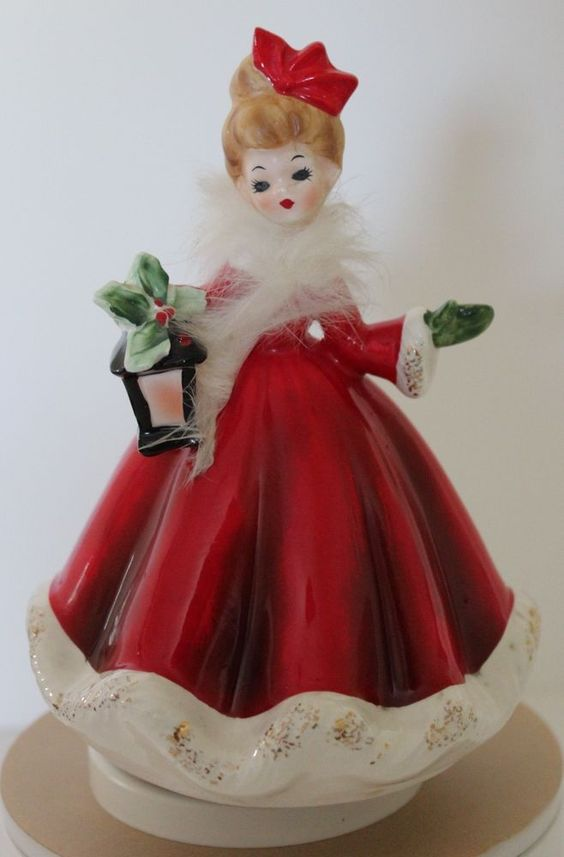Vintage Josef Originals Christmas Girl Figurine Music Box Plays Ave Maria #JosefOriginals