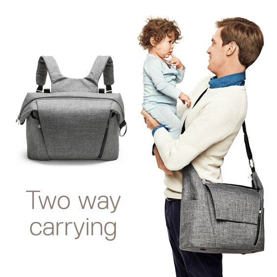 New from Stokke - Our new changing bag was made to do just this by offering an ingenious twist! As well as being able to be attached to Stokke strollers and used over your shoulder it has the added feature of being able to be used as a backpack. Large, versatile and with carefully placed pockets, it has everything you need to organize and quickly access those much needed baby essentials.