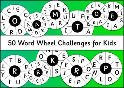 50 Word Wheel Challenges for Kids
