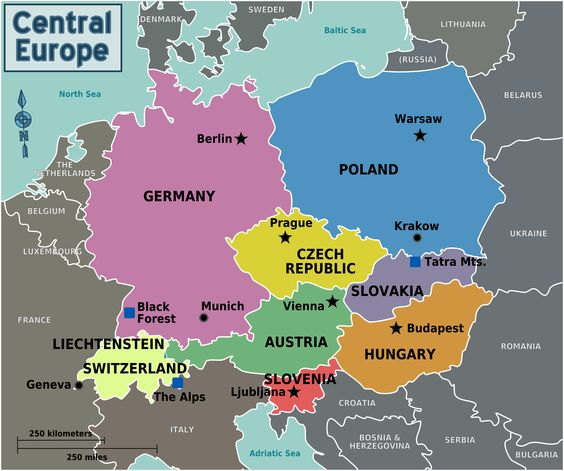 Map of Central Europe with capitals for each country – European Countries on Map