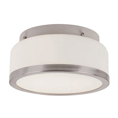 "Boring but might work in kitchen Round Opal 2 Light 8"" Flush Mount Ceiling Light  Standard flushmount style with banded rim and white frosted glass. An easy match for service porches, kitchens, and hallways.   	UL Listed suitable for damp locations 	Classic style flushmount 	White frosted round glass"