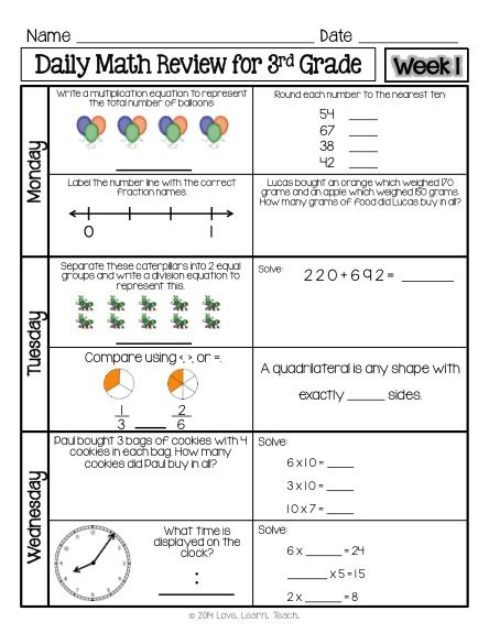 3rd grade math review worksheets mixed review daily math free samples and on pinterestdecimal. Black Bedroom Furniture Sets. Home Design Ideas