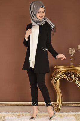 Modamerve Incili Ceket Pantolon Ikili Takim Siyah Myg 3689 Tunik Pantolon Siyah