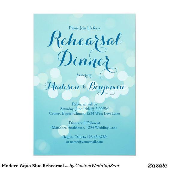 Modern Aqua Blue Rehearsal Dinner Invitations