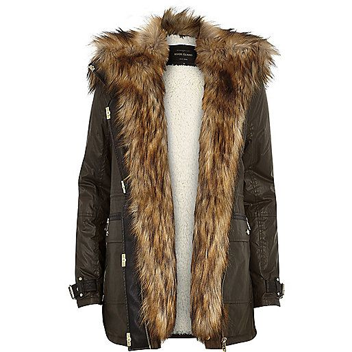Khaki faux fur trim parka jacket - parkas - coats / jackets ...