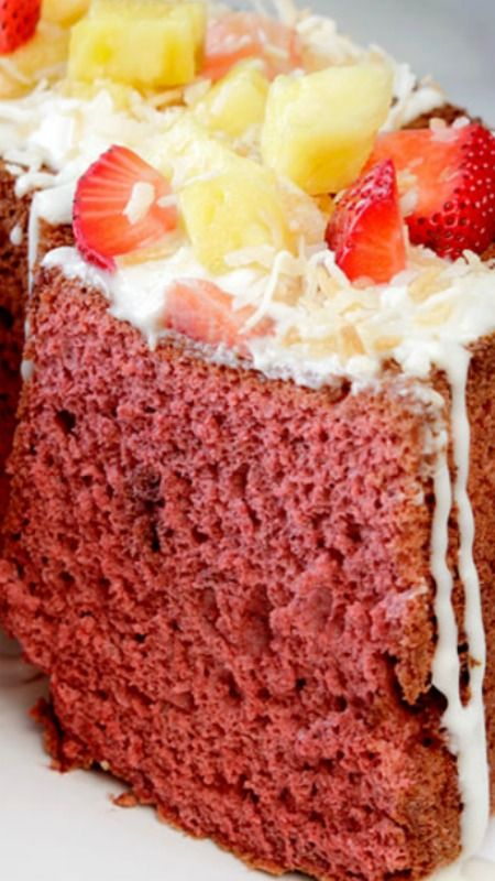 Red Velvet Angel Food Cake smothered with the most heavenly Coconut Cream Cheese Glaze ~  A slice of heaven on earth