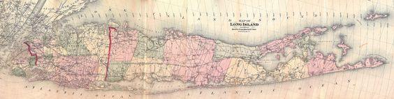 Antique Map of Long Island, 1873 on Chairish.com
