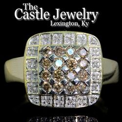 14K YELLOW GOLD .25CTTW SQUARE  RBC CHAMPAGNE  DIAMOND ILLUSION CLUSTER