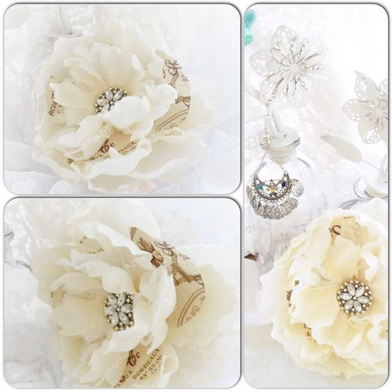 French shabby country chic rose flower pins, brooches ~ ready to ship