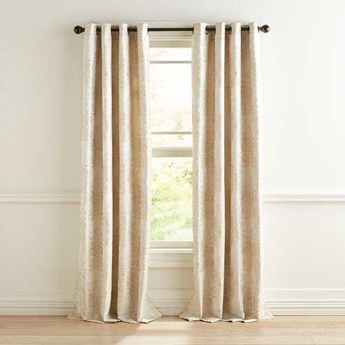 Whitmore Jacquard Ivory Gold Curtain Gold Curtains Living