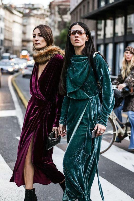 Looks com veludo molhado verde vestido de inverno: