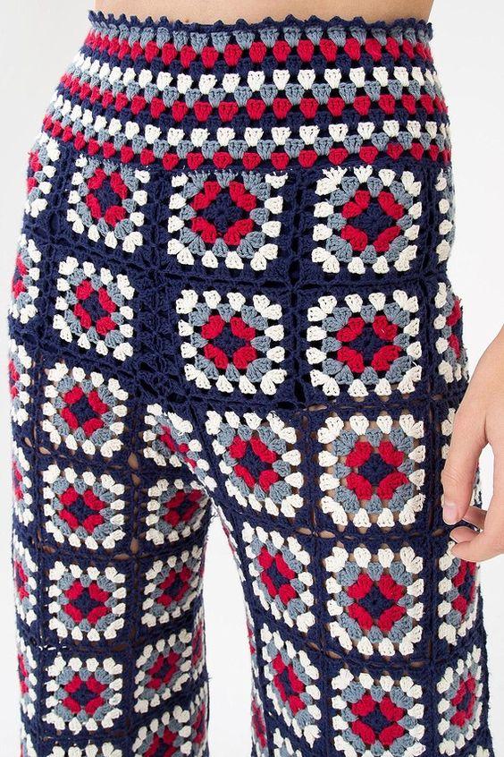 pantacourt crochet quadriculado