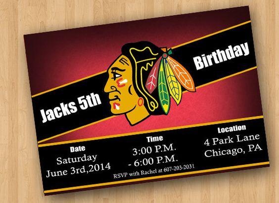 Chicago Blackhawks Party Invitation by CraftCrasherDesigns on Etsy, $6.00