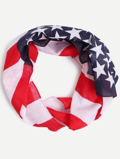 Pañuelo bandera americana cuadrado-Sheinside