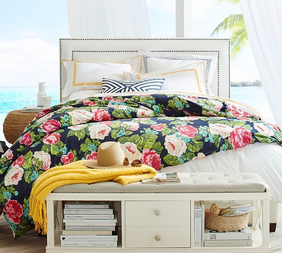 bright tropical print bedding