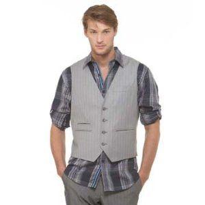 Perry Ellis Men's Pinstriped Vest,Iron Ore,Medium (Apparel)