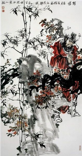 Zhong-Kui, God of the Pomegranate Blossoms. I miss Chinese brush painting...: