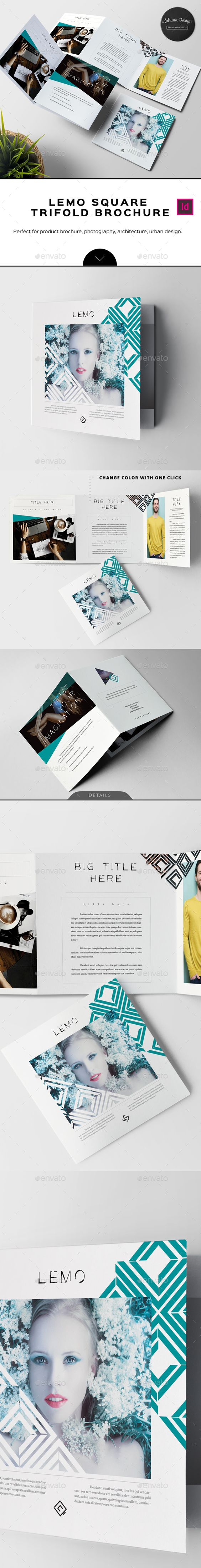 Lemo Square Trifold Brochure Template InDesign INDD. Download here: https://graphicriver.net/item/lemo-square-trifold-brochure/17641466?ref=ksioks