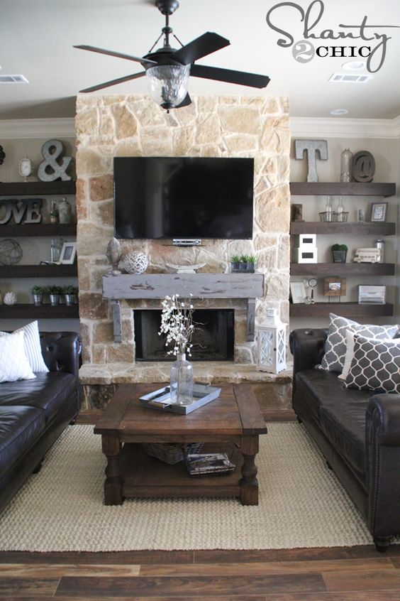 Fireplaces Shelves And Stone Fireplaces On Pinterest