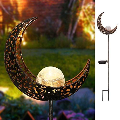 Takemeuro Moon Solar Lights Garden Outdoor Waterproof Metal Led Stake Pathway Decorative L Solar Lights Garden Solar Powered Garden Lights Outdoor Solar Lights