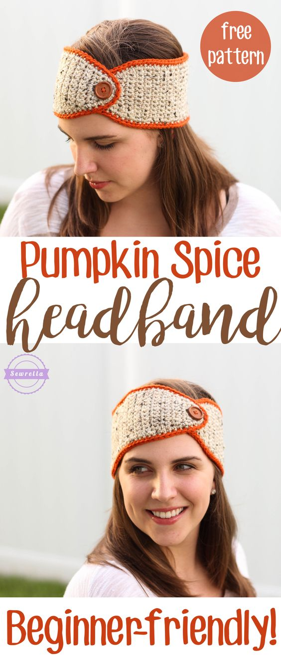 Pumpkin Spice Headband Ear Warmer | Beginner-friendly! | Free Crochet Pattern from Sewrella: