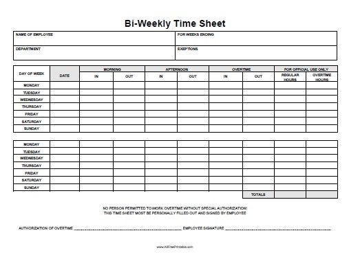 Free Printable Time Sheets Timesheet Template Time Sheet