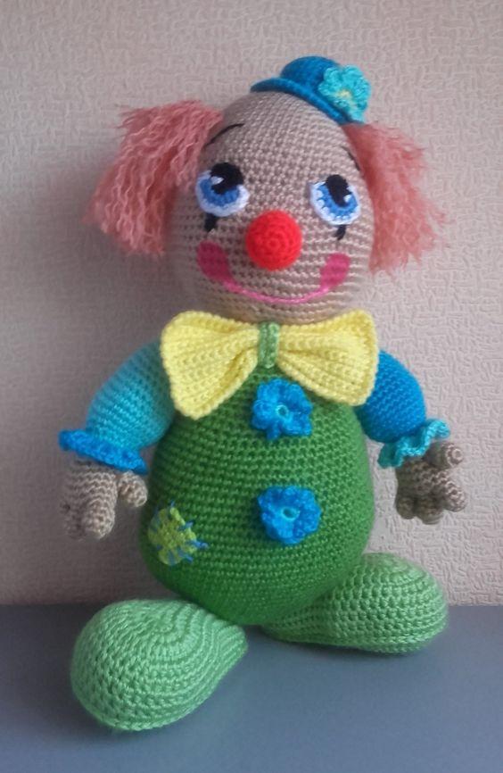 crochet clown doll amigurumi doll kids toys circus gifts