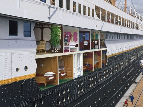 "Take a tour inside the ""floating palace"" with lavishly illustrated cutaways by artist Ken Marschall."