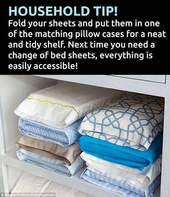 Storage secret: Fold all of your sheets up and place them inside a pillowcase to keep thin...