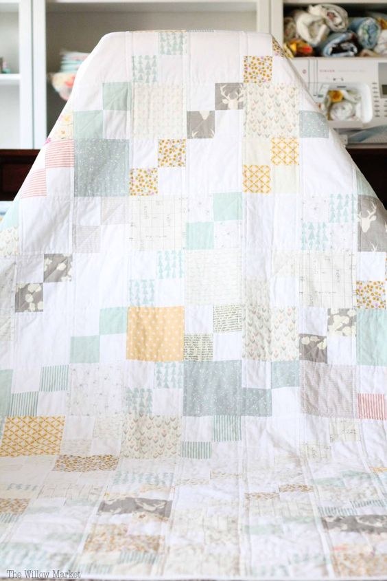 Low volume quilt, blue and gray quilt, simple patchwork quilt