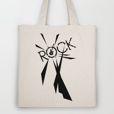 Rock [Blue] Tote Bag by Ornaart - $18.00
