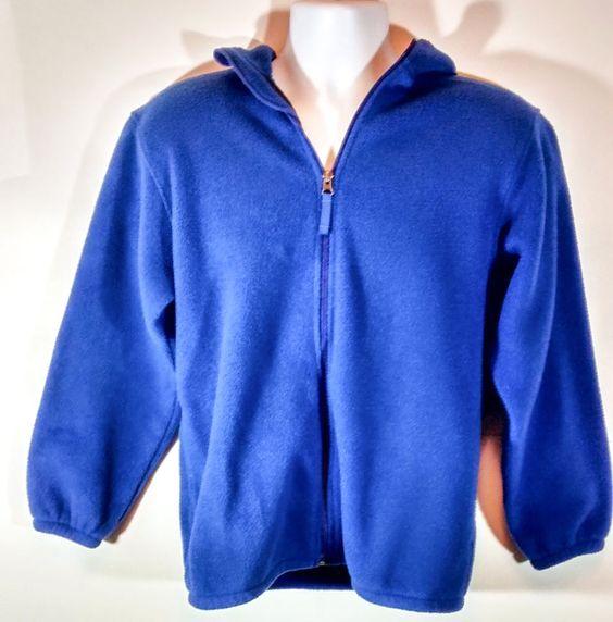 Lands' End Men's Blue Hooded Polartec Aircore 200 Fleece Jacket Size L (42-44) #LandsEnd #Hoodie