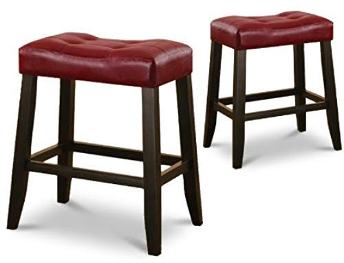 Best Seller 2 24 Red Cushion Kitchen Counter Dining Saddle Back Black Finish Bar Stools Online In 2020 Bar Stool Furniture Bar Stools Home Bar Furniture