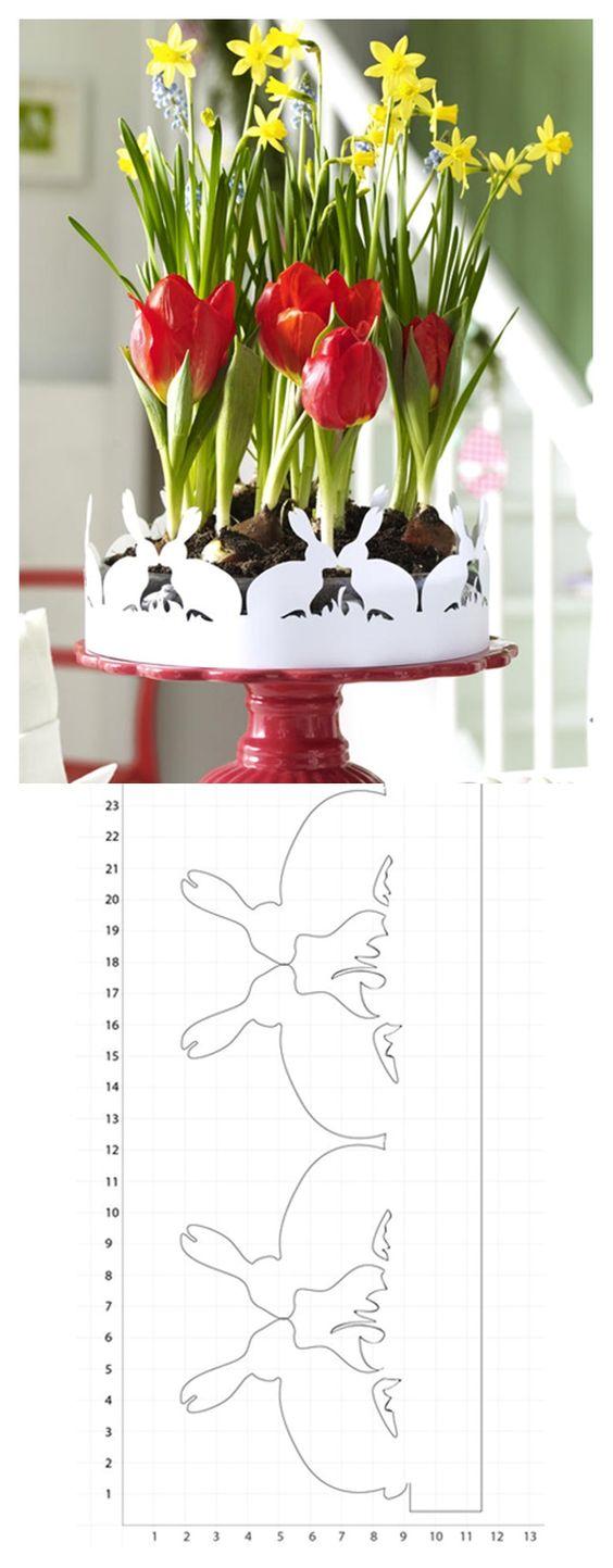 Schöne Zierbordüre zum Ausschneiden. Damit bekommt die Tortenplatte eine schöne neue Aufgabe als Blumentopf! :)