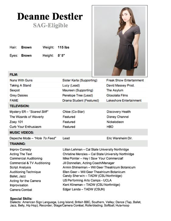 Modeling and Acting Auditions and Casting Calls at New Faces - acting resume template no experience