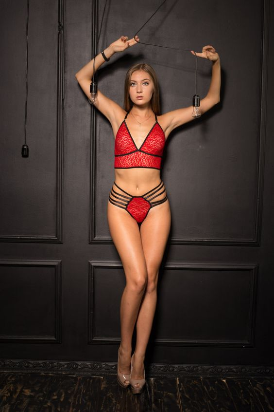 Sexy bright red lace lingerie set with rubber bands. by NaNiKaLingeri on Etsy