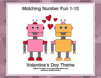 This fun themed matching game has your students matching the numeral and the word to the number of Valentine's Day images.  They count, identify the correct numeral, and read the word as well.  All great practice while they're having fun.  Two suggested activities are included.