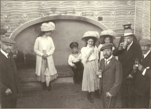 Grand Duchess Olga, Tsarevich Alexei, Grand Duchesses Tatiana, Maria, & Tsar Nicholas II. Dr Yevegneii Botkin who was later murdered with the Imperial family stands behind the Tsar.