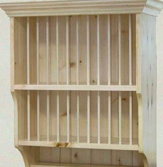 Kitchen Cabinet Plans Pdf: ... Building – Wooden Plate Rack Wall