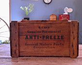 Vintage General Motors Wood Crate, GM Anti-Freeze Wooden Crate, Storage Crate, Record Crate
