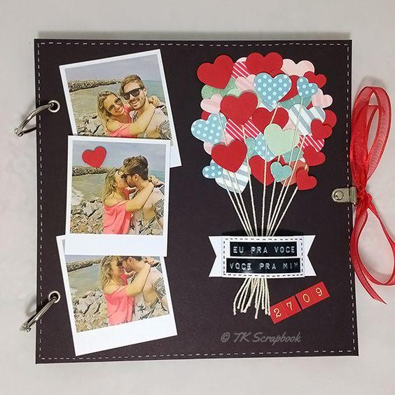 Álbum de fotos em scrapbook (visão geral da decoração):