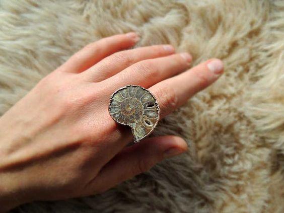 Amonite electroformed ring 7.75 Us size fossil ring by MARIAELA