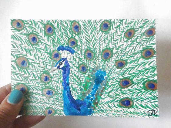 ritratto pavone blu verde disegno uccello pennarelli glitter smalto unghie 10x15 ooak cartoncino ooak animali arte natura lasoffittadiste